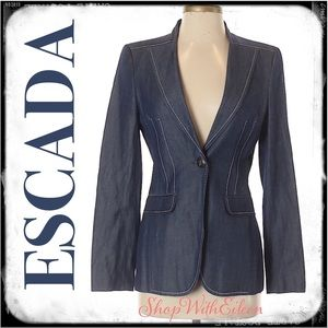 ESCADA Wool Blue Denim Blazer NWOT